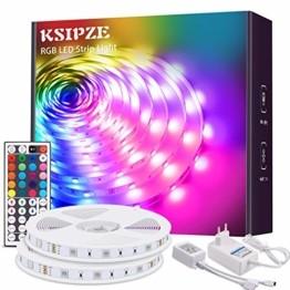 KSIPZE LED Strip 12m RGB Farbwechsel LED Lichterkette LED Band Stripes Mit 44 Tasten Fernbedienung und Netzteil LED Streifen für die Beleuchtung von Schrank,Haus Deko, Bar, Küche, Party - 1