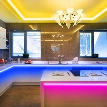 KSIPZE LED Strip 12m RGB Farbwechsel LED Lichterkette LED Band Stripes Mit 44 Tasten Fernbedienung und Netzteil LED Streifen für die Beleuchtung von Schrank,Haus Deko, Bar, Küche, Party - 6