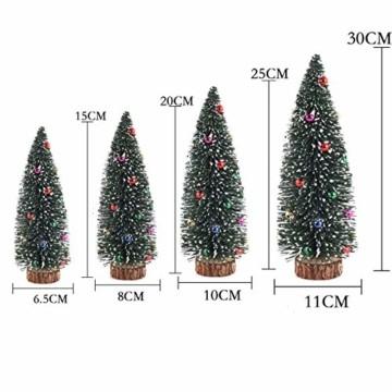 Künstlicher Weihnachtsbaum 4 Größen Künstlicher Weihnachtsbaum Miniatur Klein Tisch Christmasbaum Mini Tannenbaum Weihnachts Baum Dekoration Geschenk Tischdeko, DIY Schaufenster (Grün Weihnachtsbäume) - 2