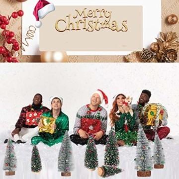 Künstlicher Weihnachtsbaum 4 Größen Künstlicher Weihnachtsbaum Miniatur Klein Tisch Christmasbaum Mini Tannenbaum Weihnachts Baum Dekoration Geschenk Tischdeko, DIY Schaufenster (Grün Weihnachtsbäume) - 4