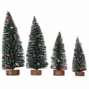 Künstlicher Weihnachtsbaum 4 Größen Künstlicher Weihnachtsbaum Miniatur Klein Tisch Christmasbaum Mini Tannenbaum Weihnachts Baum Dekoration Geschenk Tischdeko, DIY Schaufenster (Grün Weihnachtsbäume) - 1