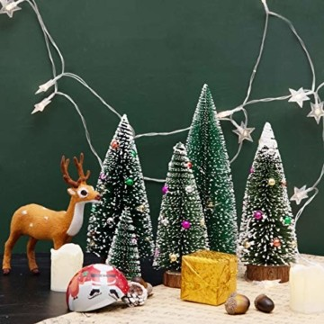 Künstlicher Weihnachtsbaum 4 Größen Künstlicher Weihnachtsbaum Miniatur Klein Tisch Christmasbaum Mini Tannenbaum Weihnachts Baum Dekoration Geschenk Tischdeko, DIY Schaufenster (Grün Weihnachtsbäume) - 5