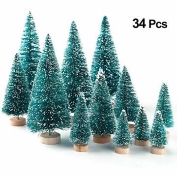 Künstlicher Weihnachtsbaum Christmas Tree Miniatur Weihnachtsdeko Klein Tisch Christmasbaum Mini Tannenbaum Weihnachts Baum Dekoration Geschenk Tischdeko, DIY Schaufenster ( Mini Weihnachtsbaum 34pcs) - 9