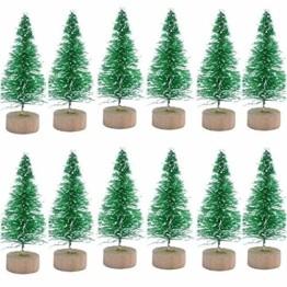 Künstlicher Weihnachtsbaum Mini Grün Tannenbaum Miniatur Klein Tisch Christmasbaum Mini Weihnachts Baum Dekoration Geschenk Tischdeko, DIY, Schaufenster (Grün Künstlicher Weihnachtsbaum, 6.5cm-12pcs) - 1