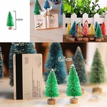 Künstlicher Weihnachtsbaum Mini Grün Tannenbaum Miniatur Klein Tisch Christmasbaum Mini Weihnachts Baum Dekoration Geschenk Tischdeko, DIY, Schaufenster (Grün Künstlicher Weihnachtsbaum, 6.5cm-12pcs) - 5