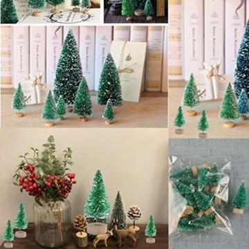 Künstlicher Weihnachtsbaum Mini Grün Tannenbaum Miniatur Klein Tisch Christmasbaum Mini Weihnachts Baum Dekoration Geschenk Tischdeko, DIY, Schaufenster (Grün Künstlicher Weihnachtsbaum, 6.5cm-12pcs) - 6