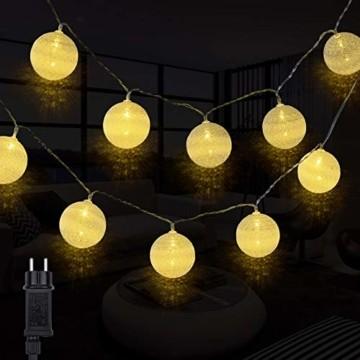 Kugel Lichterkette, DeepDream Cotton Ball Lichterkette 4.5m 20 LED Baumwollkugeln Lichterkette Bälle Lichterkette für Zimmer, Balkon, Vorhang, Hochzeit, Party (Weiß, EU Stecker) - 1