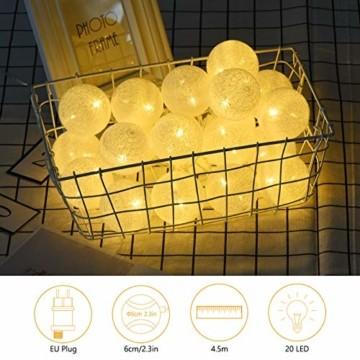 Kugel Lichterkette, DeepDream Cotton Ball Lichterkette 4.5m 20 LED Baumwollkugeln Lichterkette Bälle Lichterkette für Zimmer, Balkon, Vorhang, Hochzeit, Party (Weiß, EU Stecker) - 7