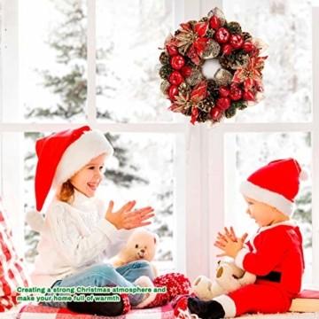 Laelr Weihnachtskranz, 15.7 Zoll Crestwood Fichtenkranz mit Tannenzapfen, Rote Beeren Weihnachtsdekorationen Weihnachts Tannenzapfenkränze für die Haustür, Wand Home Bar Hotel Xmas Party Supplies - 2