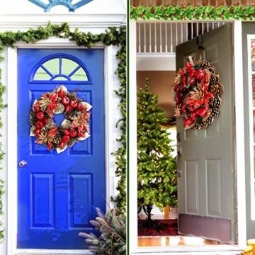 Laelr Weihnachtskranz, 15.7 Zoll Crestwood Fichtenkranz mit Tannenzapfen, Rote Beeren Weihnachtsdekorationen Weihnachts Tannenzapfenkränze für die Haustür, Wand Home Bar Hotel Xmas Party Supplies - 3