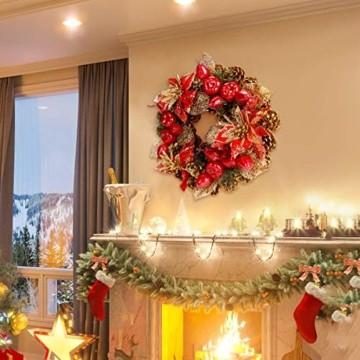 Laelr Weihnachtskranz, 15.7 Zoll Crestwood Fichtenkranz mit Tannenzapfen, Rote Beeren Weihnachtsdekorationen Weihnachts Tannenzapfenkränze für die Haustür, Wand Home Bar Hotel Xmas Party Supplies - 4
