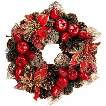 Laelr Weihnachtskranz, 15.7 Zoll Crestwood Fichtenkranz mit Tannenzapfen, Rote Beeren Weihnachtsdekorationen Weihnachts Tannenzapfenkränze für die Haustür, Wand Home Bar Hotel Xmas Party Supplies - 1