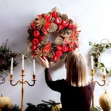 Laelr Weihnachtskranz, 15.7 Zoll Crestwood Fichtenkranz mit Tannenzapfen, Rote Beeren Weihnachtsdekorationen Weihnachts Tannenzapfenkränze für die Haustür, Wand Home Bar Hotel Xmas Party Supplies - 5