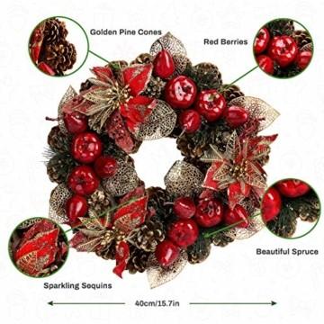 Laelr Weihnachtskranz, 15.7 Zoll Crestwood Fichtenkranz mit Tannenzapfen, Rote Beeren Weihnachtsdekorationen Weihnachts Tannenzapfenkränze für die Haustür, Wand Home Bar Hotel Xmas Party Supplies - 6