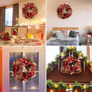 Laelr Weihnachtskranz, 15.7 Zoll Crestwood Fichtenkranz mit Tannenzapfen, Rote Beeren Weihnachtsdekorationen Weihnachts Tannenzapfenkränze für die Haustür, Wand Home Bar Hotel Xmas Party Supplies - 7