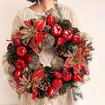 Laelr Weihnachtskranz, 15.7 Zoll Crestwood Fichtenkranz mit Tannenzapfen, Rote Beeren Weihnachtsdekorationen Weihnachts Tannenzapfenkränze für die Haustür, Wand Home Bar Hotel Xmas Party Supplies - 8