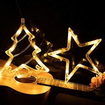 Lareina.C 4er Set Fensterdeko Hängend Fensterlicht mit Saugnapf LED Warm Weiß Batteriebetrieb Weihnachtsbeleuchtung Weihnachtsmann Weihnachtsbaum Stern Schneeflocke für Weihnachtsdeko (Xmas Set B) - 2