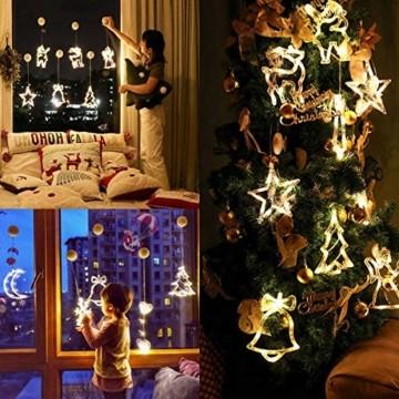 Lareina.C 4er Set Fensterdeko Hängend Fensterlicht mit Saugnapf LED Warm Weiß Batteriebetrieb Weihnachtsbeleuchtung Weihnachtsmann Weihnachtsbaum Stern Schneeflocke für Weihnachtsdeko (Xmas Set B) - 3