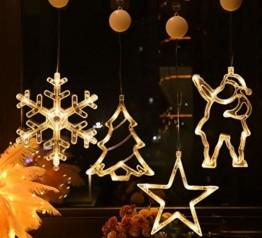 Lareina.C 4er Set Fensterdeko Hängend Fensterlicht mit Saugnapf LED Warm Weiß Batteriebetrieb Weihnachtsbeleuchtung Weihnachtsmann Weihnachtsbaum Stern Schneeflocke für Weihnachtsdeko (Xmas Set B) - 1