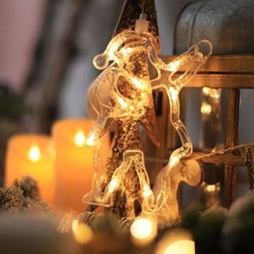Lareina.C 4er Set Fensterdeko Hängend Fensterlicht mit Saugnapf LED Warm Weiß Batteriebetrieb Weihnachtsbeleuchtung Weihnachtsmann Weihnachtsbaum Stern Schneeflocke für Weihnachtsdeko (Xmas Set B) - 4