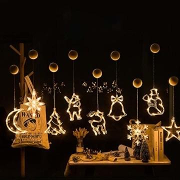 Lareina.C 4er Set Fensterdeko Hängend Fensterlicht mit Saugnapf LED Warm Weiß Batteriebetrieb Weihnachtsbeleuchtung Weihnachtsmann Weihnachtsbaum Stern Schneeflocke für Weihnachtsdeko (Xmas Set B) - 5