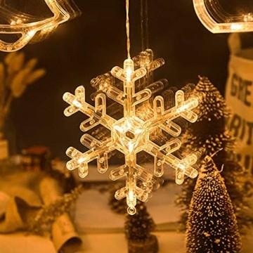 Lareina.C 4er Set Fensterdeko Hängend Fensterlicht mit Saugnapf LED Warm Weiß Batteriebetrieb Weihnachtsbeleuchtung Weihnachtsmann Weihnachtsbaum Stern Schneeflocke für Weihnachtsdeko (Xmas Set B) - 6