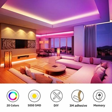 LE LED Strip Lichtband,10m (2x5m) RGB LED Streifen Band, 5050 SMD LED stripes, LED Lichterkette mit 44 Tasten Fernbedienung, verstellbare Helligkeiten RGB Farbwechsel Strip für Haus, Party, Bar, TV - 2
