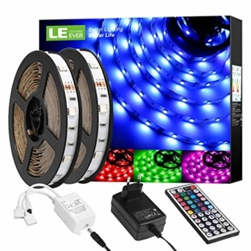 LE LED Strip Lichtband,10m (2x5m) RGB LED Streifen Band, 5050 SMD LED stripes, LED Lichterkette mit 44 Tasten Fernbedienung, verstellbare Helligkeiten RGB Farbwechsel Strip für Haus, Party, Bar, TV - 1