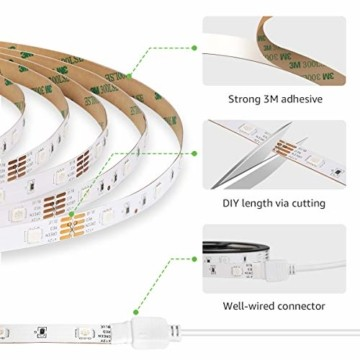LE LED Strip Lichtband,10m (2x5m) RGB LED Streifen Band, 5050 SMD LED stripes, LED Lichterkette mit 44 Tasten Fernbedienung, verstellbare Helligkeiten RGB Farbwechsel Strip für Haus, Party, Bar, TV - 6