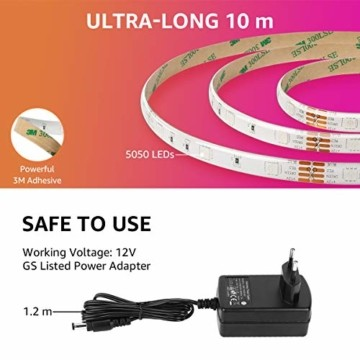 LE LED Strip Lichtband,10m (2x5m) RGB LED Streifen Band, 5050 SMD LED stripes, LED Lichterkette mit 44 Tasten Fernbedienung, verstellbare Helligkeiten RGB Farbwechsel Strip für Haus, Party, Bar, TV - 8