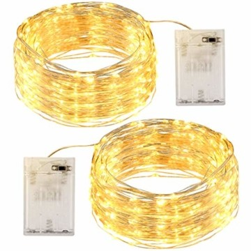 LED Lichterkette [2 Pack] OMERIL 12M Lichterkette Batterie mit 120 LEDs Wasserdicht Stimmungs Lichterkette Draht für Zimmer, Kinderzimmer, Weihnachten, Party, Hochzeit, DIY, Innen und Außen. Warmweiß - 1