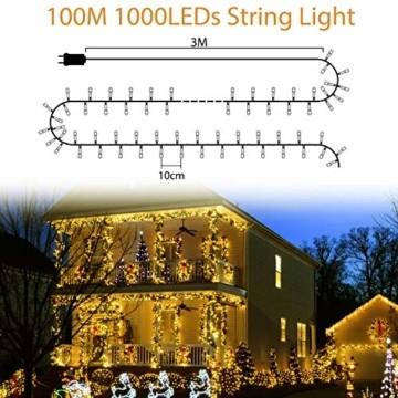 LED Lichterkette Außen Warmweiß 100M 1000 LEDs Elegear LED Weihnachtsbeleuchtung Strombetrieb Deko 8 Modi für Innen Außen Neujahr Weihnachten Geburtstag Feiertag Party Hotel Garten Hochzeit - 5
