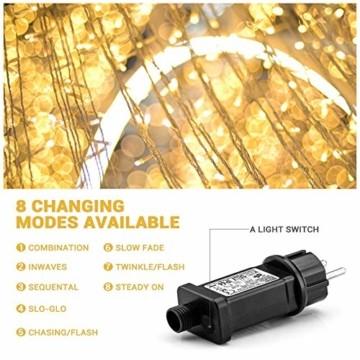 LED Lichterkette Außen Warmweiß 100M 1000 LEDs Elegear LED Weihnachtsbeleuchtung Strombetrieb Deko 8 Modi für Innen Außen Neujahr Weihnachten Geburtstag Feiertag Party Hotel Garten Hochzeit - 7