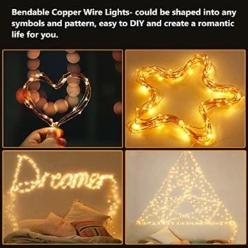 LED Lichterkette Batterie, [2 Stück] VOKSUN 14M 140LED Lichterkette, 8 Modi Kupferdraht Licht Wasserdicht mit Fernbedienung Timer, für Weihnachten Party Hochzeit DIY, Innen/Außen Dekoration (Warmweiß) - 3