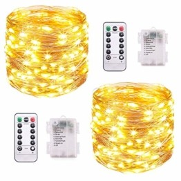 LED Lichterkette Batterie, [2 Stück] VOKSUN 14M 140LED Lichterkette, 8 Modi Kupferdraht Licht Wasserdicht mit Fernbedienung Timer, für Weihnachten Party Hochzeit DIY, Innen/Außen Dekoration (Warmweiß) - 1