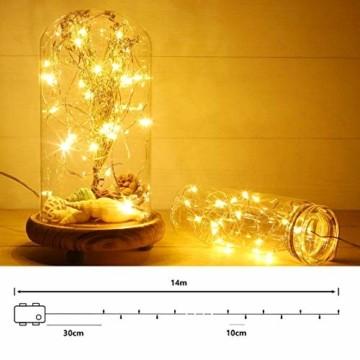 LED Lichterkette Batterie, [2 Stück] VOKSUN 14M 140LED Lichterkette, 8 Modi Kupferdraht Licht Wasserdicht mit Fernbedienung Timer, für Weihnachten Party Hochzeit DIY, Innen/Außen Dekoration (Warmweiß) - 4