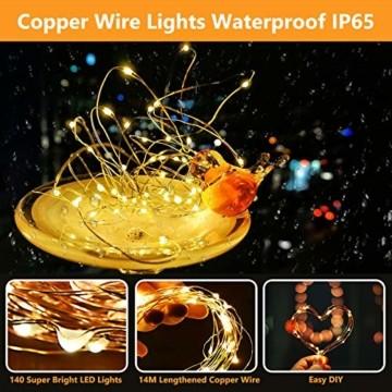 LED Lichterkette Batterie, [2 Stück] VOKSUN 14M 140LED Lichterkette, 8 Modi Kupferdraht Licht Wasserdicht mit Fernbedienung Timer, für Weihnachten Party Hochzeit DIY, Innen/Außen Dekoration (Warmweiß) - 5