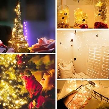 LED Lichterkette Batterie, [2 Stück] VOKSUN 14M 140LED Lichterkette, 8 Modi Kupferdraht Licht Wasserdicht mit Fernbedienung Timer, für Weihnachten Party Hochzeit DIY, Innen/Außen Dekoration (Warmweiß) - 6