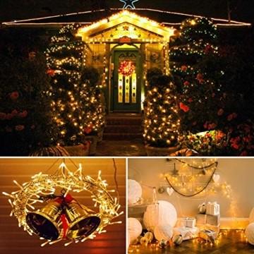 LED Lichterkette, BIGHOUSE 100 LEDs 10M Lichterkette Weihnachten mit Stecker Warmweiß, Wasserdichte IP44 für Weihnachtsbaum, Party, Hochzeit, Terrasse, Innen/Außen Dekoration - 2