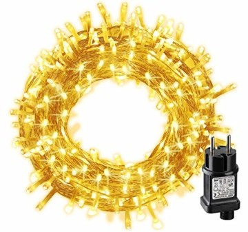 LED Lichterkette, BIGHOUSE 100 LEDs 10M Lichterkette Weihnachten mit Stecker Warmweiß, Wasserdichte IP44 für Weihnachtsbaum, Party, Hochzeit, Terrasse, Innen/Außen Dekoration - 1