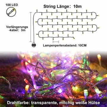 LED Lichterkette Innen, Ollny 10M 100 LED Lichterketten für zimmer, Warmweiß und Bunt, Dimmbar Fairy String Lights für Innen Outdoor Weihnachten Party Garten Hochzeit Deko - 3