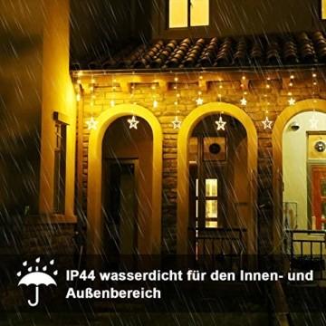 LED Lichterkette mit 12 Sterne, 138 LEDs Lichtervorhang weihnachtslichter Sternenvorhang 8 Modi Für Innen Außen, Sterne Vorhang Lichter, Weihnachten, Party, Hochzeit, Garten, Balkon, Deko(Warmweiß) - 2