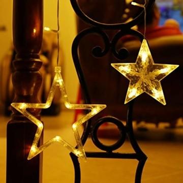 LED Lichterkette mit 12 Sterne, 138 LEDs Lichtervorhang weihnachtslichter Sternenvorhang 8 Modi Für Innen Außen, Sterne Vorhang Lichter, Weihnachten, Party, Hochzeit, Garten, Balkon, Deko(Warmweiß) - 3