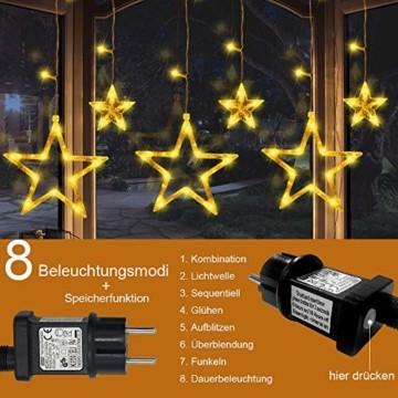 LED Lichterkette mit 12 Sterne, 138 LEDs Lichtervorhang weihnachtslichter Sternenvorhang 8 Modi Für Innen Außen, Sterne Vorhang Lichter, Weihnachten, Party, Hochzeit, Garten, Balkon, Deko(Warmweiß) - 4