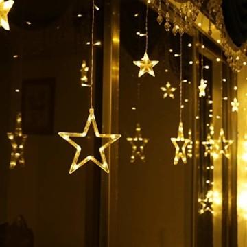 LED Lichterkette mit 12 Sterne, 138 LEDs Lichtervorhang weihnachtslichter Sternenvorhang 8 Modi Für Innen Außen, Sterne Vorhang Lichter, Weihnachten, Party, Hochzeit, Garten, Balkon, Deko(Warmweiß) - 1
