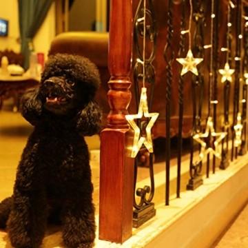 LED Lichterkette mit 12 Sterne, 138 LEDs Lichtervorhang weihnachtslichter Sternenvorhang 8 Modi Für Innen Außen, Sterne Vorhang Lichter, Weihnachten, Party, Hochzeit, Garten, Balkon, Deko(Warmweiß) - 5