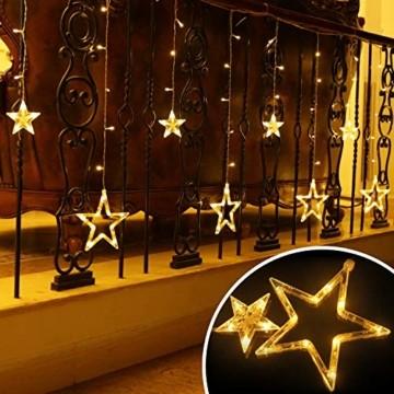 LED Lichterkette mit 12 Sterne, 138 LEDs Lichtervorhang weihnachtslichter Sternenvorhang 8 Modi Für Innen Außen, Sterne Vorhang Lichter, Weihnachten, Party, Hochzeit, Garten, Balkon, Deko(Warmweiß) - 6