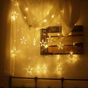 LED Lichterkette mit 12 Sterne, 138er LED Lichtervorhang weihnachtslichter Sternenvorhang 8 Modi Für Innen Außen, Sterne Vorhang Lichter, Weihnachten, Party, Hochzeit, Garten, Balkon, Deko (Warmweiß) - 3