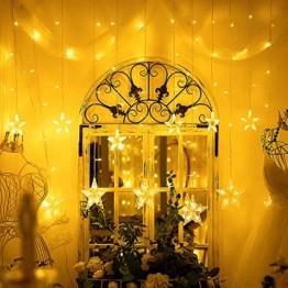 LED Lichterkette mit 12 Sterne, 138er LED Lichtervorhang weihnachtslichter Sternenvorhang 8 Modi Für Innen Außen, Sterne Vorhang Lichter, Weihnachten, Party, Hochzeit, Garten, Balkon, Deko (Warmweiß) - 1