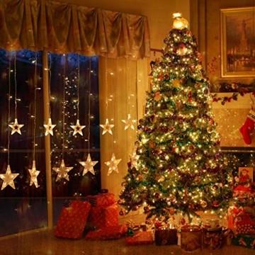 LED Lichterkette mit 12 Sterne, 138er LED Lichtervorhang weihnachtslichter Sternenvorhang 8 Modi Für Innen Außen, Sterne Vorhang Lichter, Weihnachten, Party, Hochzeit, Garten, Balkon, Deko (Warmweiß) - 4